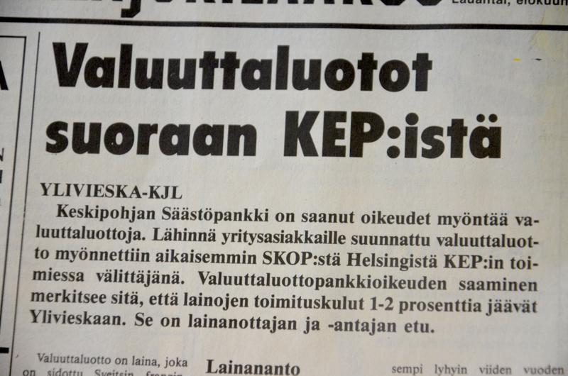 Kalajokilaakson uutinen kertoi vuotta sitten, että nyt on raha yrityksille halpaa valuuttalainoina. Suomen pankin säätelemien markkalainojen korko oli yli 10 prosenttia.
