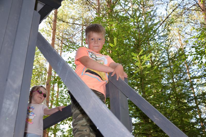 Aleksi Koitijärvi näki kuvia isän puumajasta ja halusi sellaisen myös itselleen. Mummulan metsässä viihtyy myös pikkusisko Ronja.