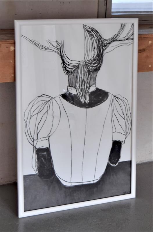 Annika Bergvik-Forsanderin teos Trofee. Onko se eläin vai ihminen vai jotain siltä väliltä?