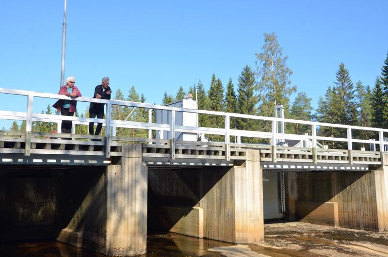 Alajoen myllyn silta Halsualla, kuvassa Hannu Mikkonen ja hänen äitinsä Raili Mikkonen.