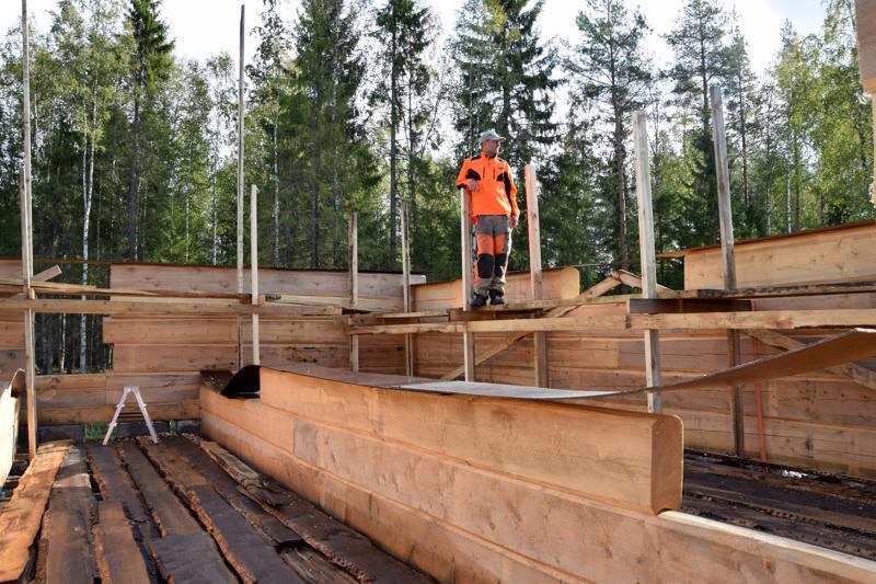 Markus Niskanen mittailee perheensä tulevan kodin seinien korkeutta. Sitten kun kaikki kuusitoista hirsikertaa ovat pystyssä, kaksikerroksisen talon seinät ulottuvat kuvassa näkyvien korkeiden rimojen mittaan.