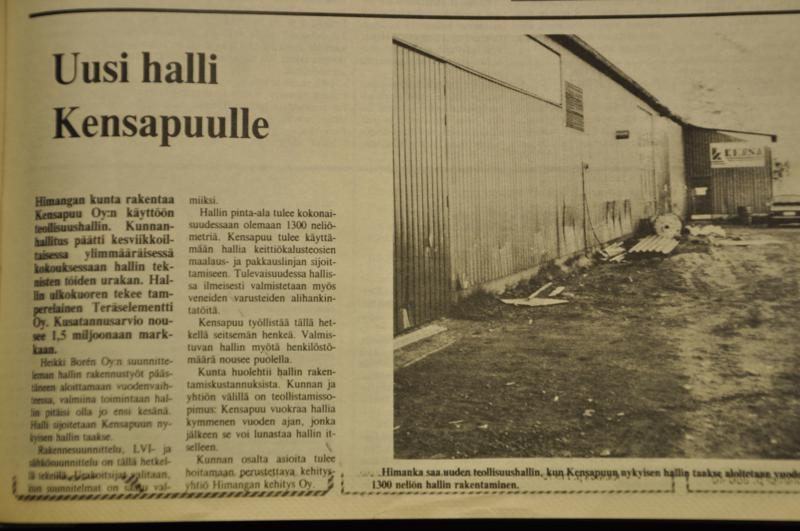 Ennen. Lestinjoki kertoi hallikaavailuista 25. syyskuuta 1989.