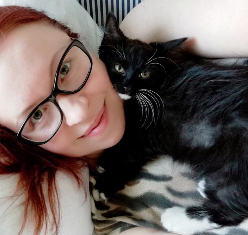 Alkuun hyvin pelokkaasti ihmisiin suhtautunut Fëanor on jo kesy kissa. Se tykkää nukkua kissakumminsa Annina Laitilan rinnan päällä.