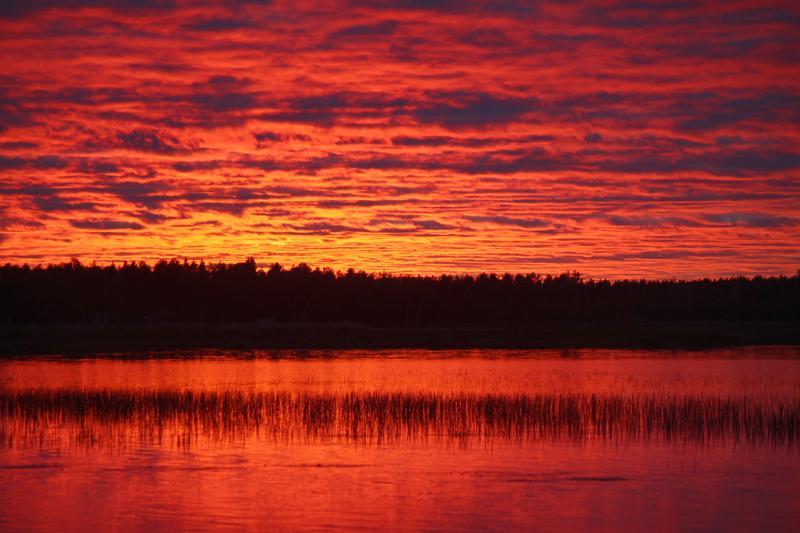 Auringonlasku Ullavanjärvellä 26.9.2019.