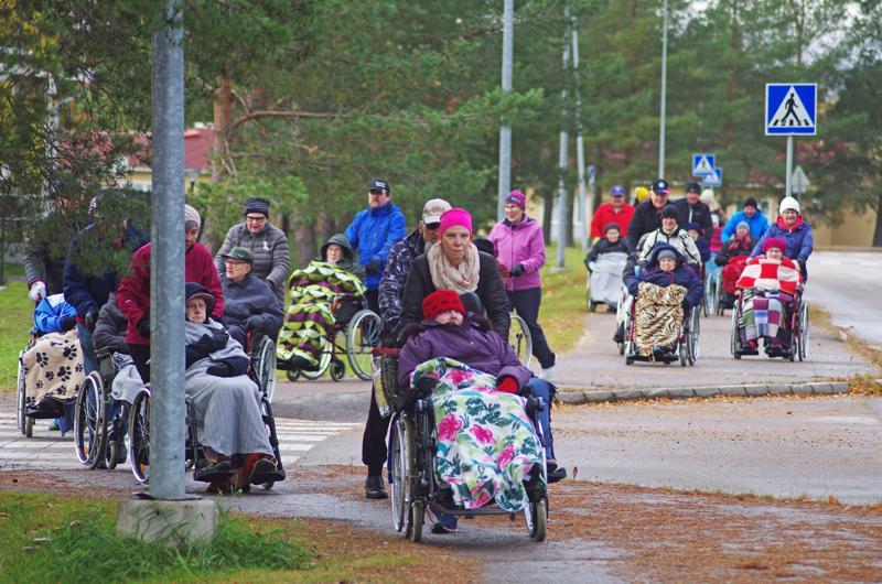 Ulkoiluttajien joukkoa johti kaupungin hyvinvointikoordinaattori Meri Vähäkangas.