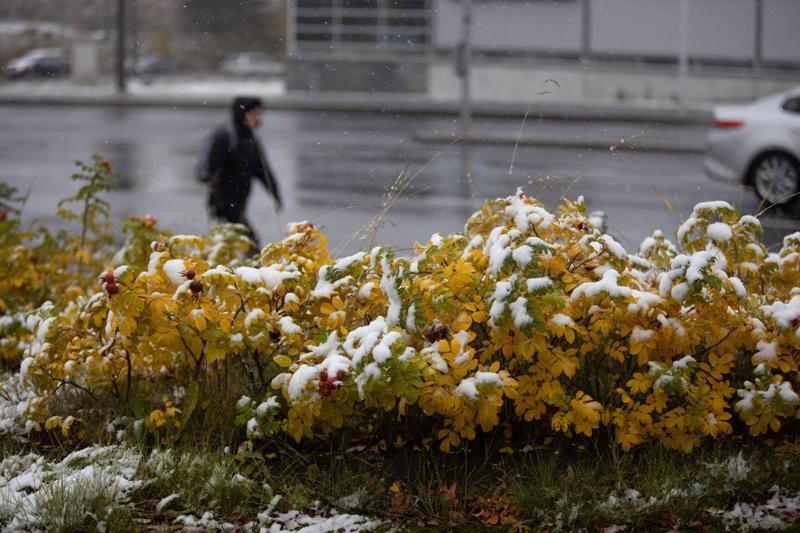 Kuopiossa satoi räntää lokakuun alussa.