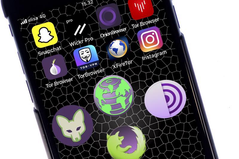 Muun muassa nämä sovellukset, Instagramia, Snapchattia ja Wickr Prota lukuun ottamatta, vievät puhelimen käyttäjän Tor-verkkoon.