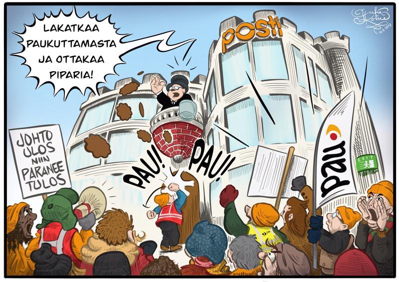 Posti tarjosi pääkonttorinsa edustalle kerääntyneille mielenosoittajille piparkakkuja ja lämmintä juotavaa, Helsingissä tiistaina 12. marraskuuta.