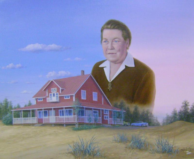 Taiteilija Markku Hakola on ikuistanut tauluun sekä Hilman että hänen hotellinsa.