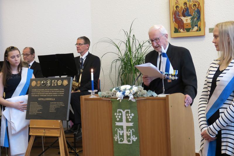 Kunnia- ja muistolaatan paljastuspuheen piti Jorma Salkosalo. Laatta sijoitetaan kaupungintalolle.