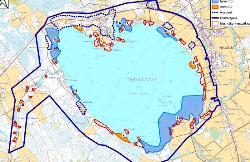 Halsuanjärven osayleiskaavan kaavoituksessa paljastui, että järvellä majailee viitasammakoita. Kartassa viitasammakkoalueet sinisellä.