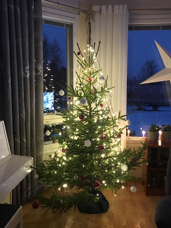 Sininen ja valkoinen sopivat suomalaiseen jouluun.