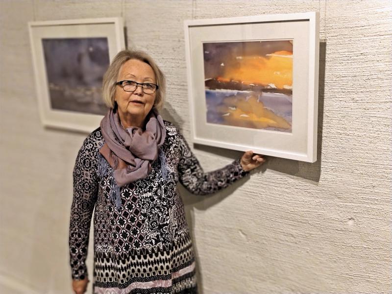 Marianne Kanckos haluaa maalauksissaan ilmaista luontoa puoliabsraktisella tavalla. - Jotain esittäviä elementtejä pitää löytyä, hän toteaa Auringonlaskun vierellä.