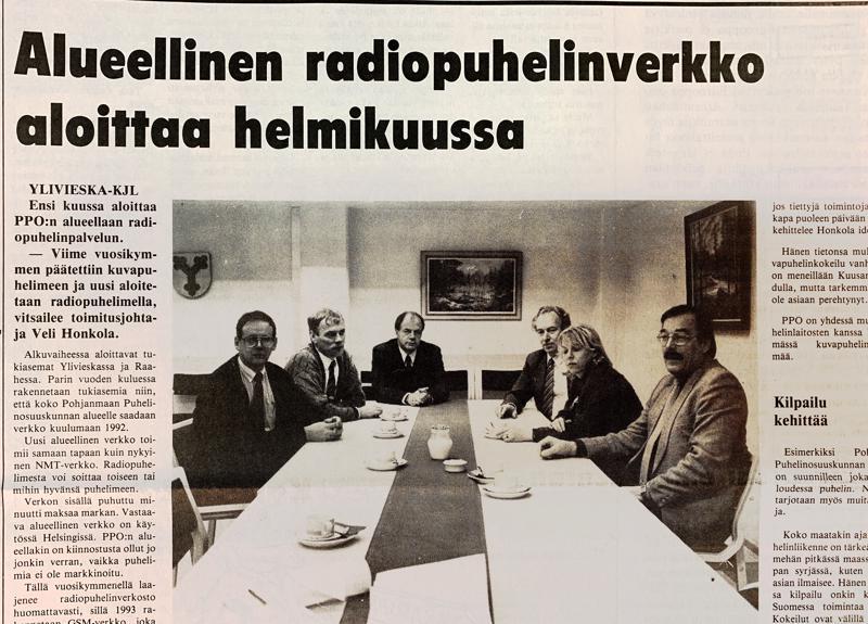 Pohjanmaan puhelinosuuskunnan johtoryhmä oli 30 vuotta sitten Kalajokilaakson aamukahvivieraana.