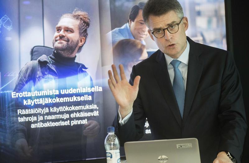 Koneen toimitusjohtaja Henrik Ehrnrooth esitteli yhtiön viime vuoden tulosta tiistaina.