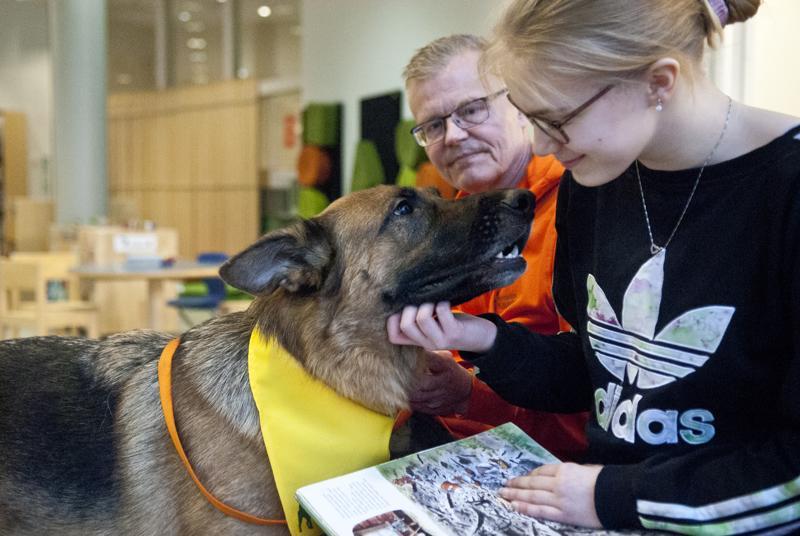 Pasi Nyrönen ja Rami-koira saivat kirjastossa seuraa TET-harjoittelija Pinja Pynssistä. Ramin voi bongata kaupungin kirjastoista lukukoirahetkiltä.