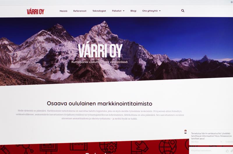 Markkinointitoimisto Várrin etusivu verkossa.