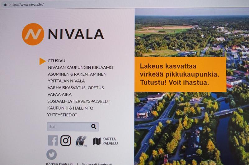 Nivala haluaa muuttua näkyvämmäksi, muualla tunnetummaksi. Kuvassa osa Nivalan kaupungin verkon etusivua.