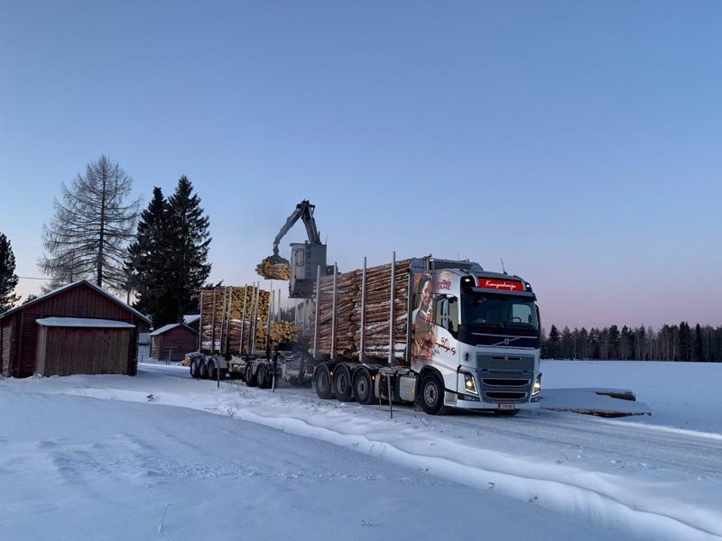 T&T Kangasharjun puutavara-auto lastaa puita.
