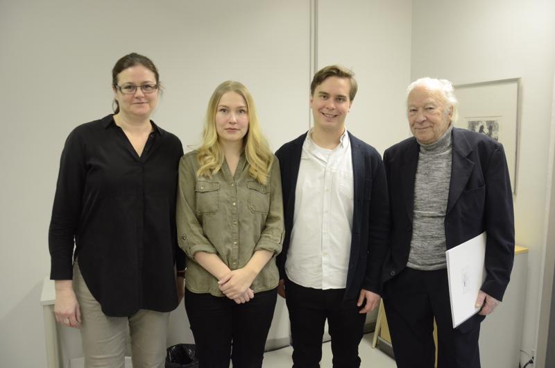 Anna-Maria Helsing (vas.), Sonja Vertainen, Janne Valkeajoki ja Aulis Sallinen.