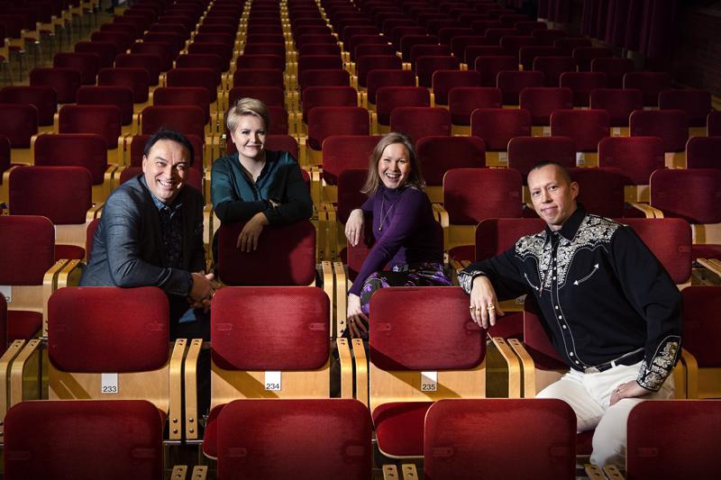 Matti Korkiala, Virva Puumala, Maria Autio ja Jiri Tammilehto ovat Guardia Nuevan solisteja lauantaina Snellman-salissa.