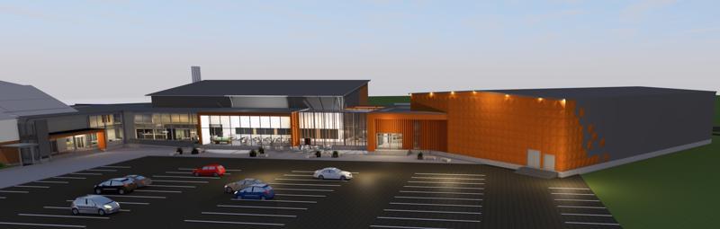 Ensimmäiset luonnoskuvat uudesta liikuntakeskuskokonaisuudesta. Myös monitoimihallin katolle aiotaan laittaa aurinkopaneelit, kuten on asennettu muuallekin liikuntakeskuksen kattopinnoille.