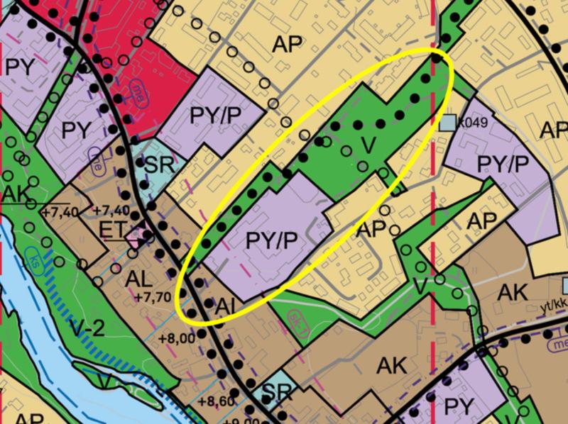 Kartalta näkee mille alueelle Pohjankylänpuiston laajennusta ehdotetaan.
