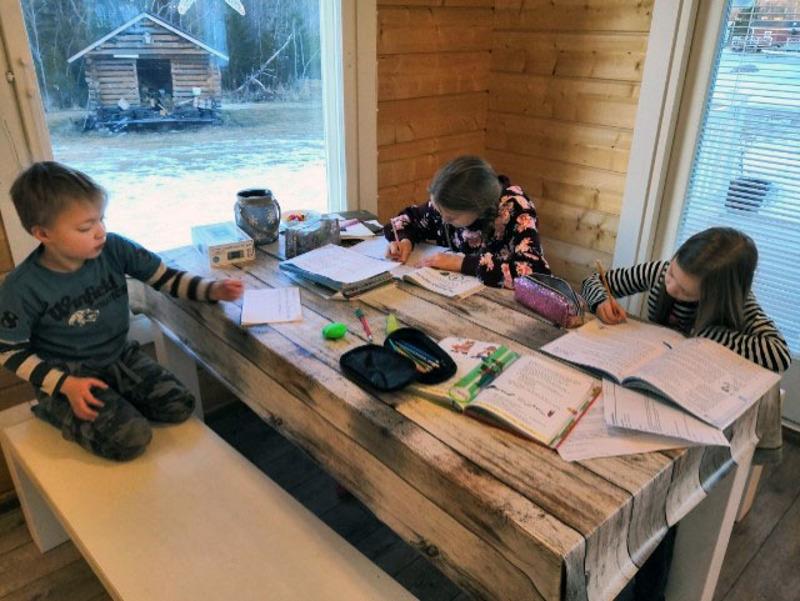 Hosionahot lähtivät viikonloppuna mökille, jossa Santeri, Jemina ja Hilda keskittyivät koulutehtäviin. Perheeseen kuuluu myös kaksi isompaa koululaista ja kolme pienempää lasta. Soile Hosionahon mukaan aika ei varmasti tule käymään pitkäksi.
