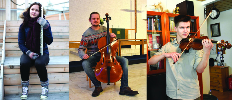 Konsertissa esiintyy kolme Jokilaaksojen musiikkiopistosta ammattiopintoihin ponnistanutta nuorta muusikkoa: Laura Veikkola, Tatu Ahola ja Miro Petsalo. Säestäjänä toimii Auli Kärkölä.