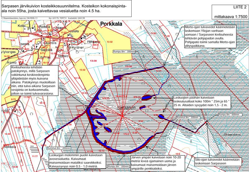 Järvikuivion alue on maanpinnaltaan tasainen, noin 112 metriä merenpinnan yläpuolella, kuten myös vedenpinta. Oikealta tulevat laskuojat, vasemmassa reunassa vedenkorkeus vaihtelee noin 70 cm. Kaivuutöitä tehdään yhteensä noin 4,5 hehtaarin alalla (siniset alueet) ja kaivetuista maista muodostetaan penkkoja, penkkateitä, niemekkeitä ja saarekkeita (punaiset alueet).