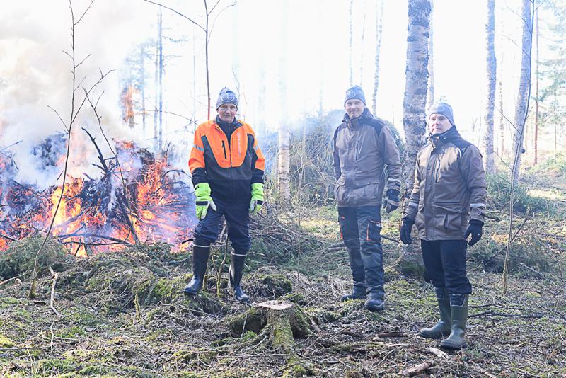Paavo Laajalahti, Jari Järvenpää ja Risto Rönkkö polttivat suurimman osan kuusien hakkuujätteistä. -Tuhka ja osittain palamatta jääneet puut jäävät paikoilleen metsän monimuotoisuutta lisäämään, miehet kertovat.