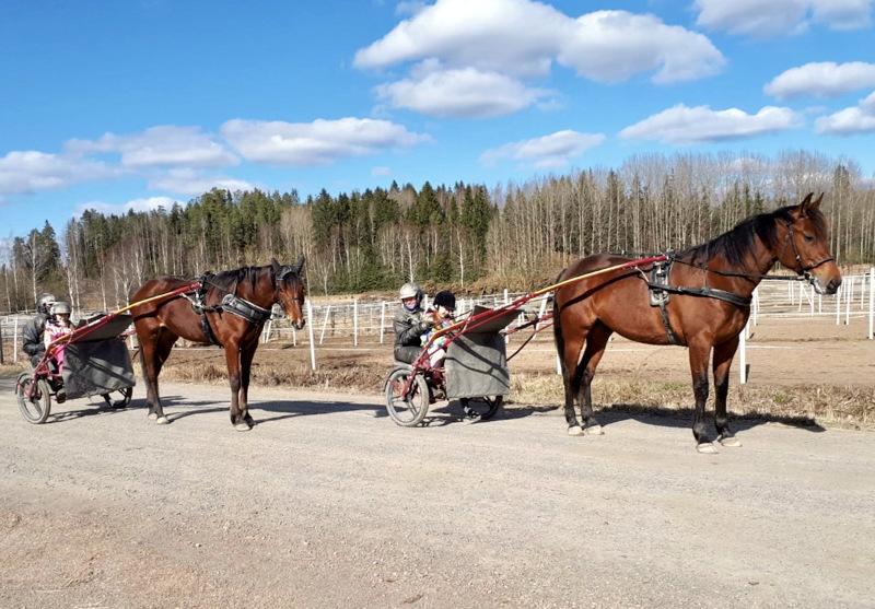 Lankalauantai tarjosi hienot puitteet hevosten valmennukseen. Kuvassa Tiina ja Juha Koskela kera tyttärien Frida ja Viivi valmiina harjoituslenkille. Edessä Wagger Zacker ja takana What The Hell.