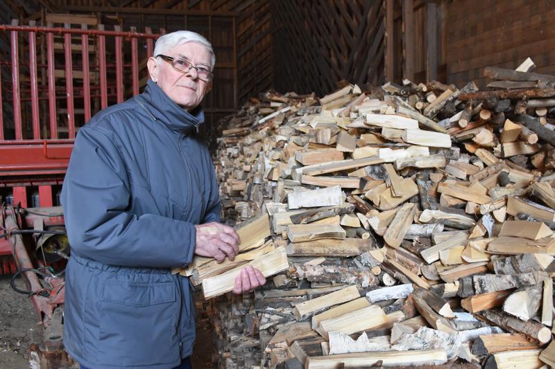 Jalo Aittola arvioi, että tällä hetkellä polttopuuta on varastossa jo 90-vuotissynttäreihin saakka.