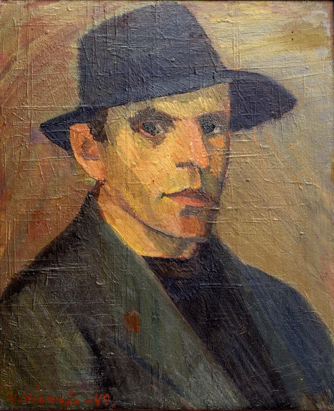 Veikko Vionojan öljymaalaus Omakuva vuodelta 1949 kuuluu K.H.Renlundin museon kokoelmiin.