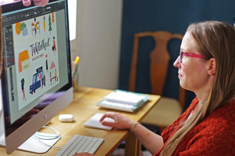 Tukitalkoiden ilmeen on suunnitellut Gekkografian Marika Kaarlela.