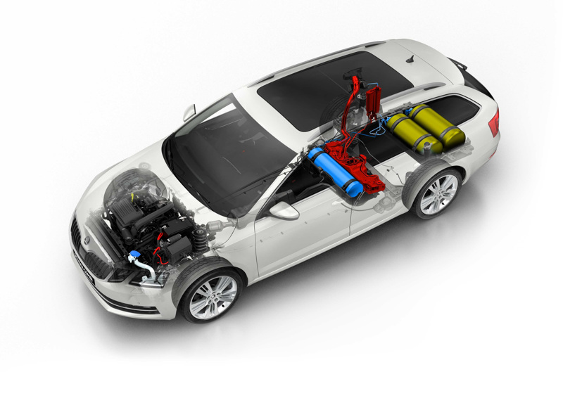 Nykyisessä Skoda Octavia G-Tecissa on kaksi komposiittivalmisteista kaasutankkia (keltaiset) sekä taka-akselin eteen sijoitettu terästankki bensiinille (sininen). Komposiittitankkeihin mahtuu yhteensä 17,7 kiloa maa- tai biometaania. Rakenneratkaisu on tyypillinen kaasuautoille. Uusin G-Tec-versio esitellään loppuvuodesta.