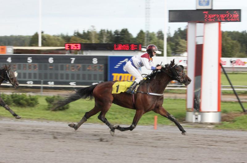 Janita Antti-Roikon Nitro Diablo vyöryi päätöspuolikkaan käynnistyessä varmaan voittoon. Antti-Roiko voitti samalla hevosella PM-kultaa syyskuussa Turussa (kuva).