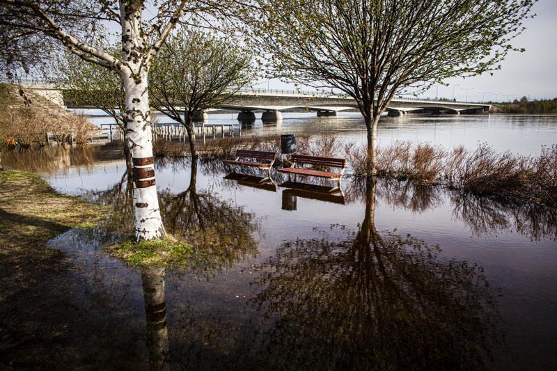 Vesi on noussut jo rantaväylille Rovaniemen keskustassa. Kemijoen tulvan huippua odotetaan vasta ensi viikon alkupäivinä.