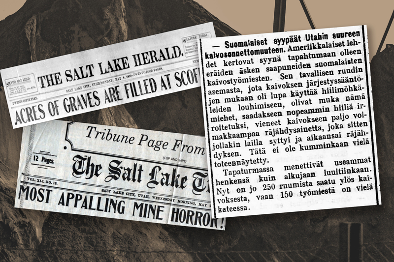 Lehtileikkeitä vuodelta 1900. Amerikkalaiset lehdet kertoivat, että Utahin suuren kaivosonnettomuuden syynä olivat suomalaiset kaivostyömiehet.