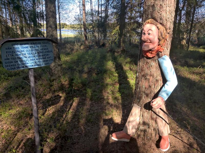 Meddasnabban taukopaikan lähellä on anoppi kasvanut puuhun. Kaskun teksti on sekä suomeksi että ruotsiksi.