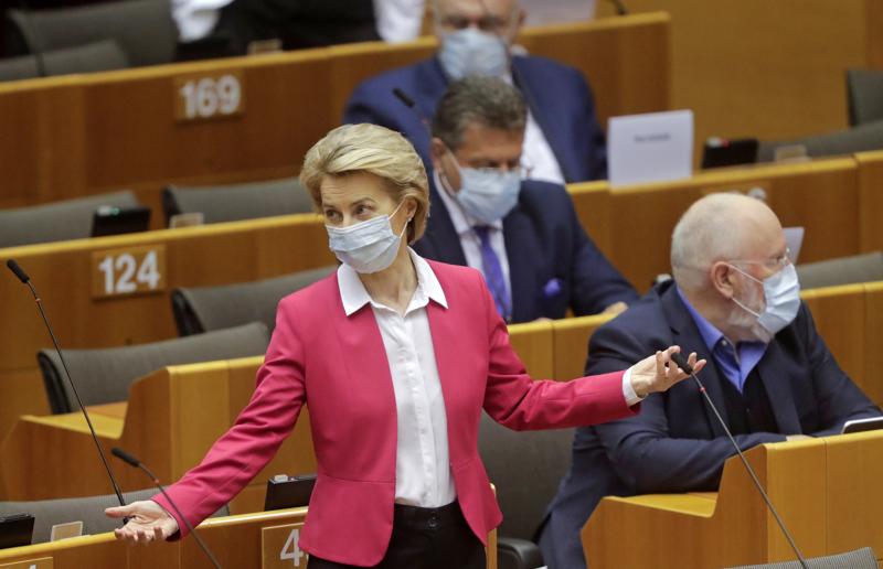 EU-komission puheenjohtaja Ursula von der Leyen esitteli komission elpymispaketin Brysselissä toukokuun lopussa.