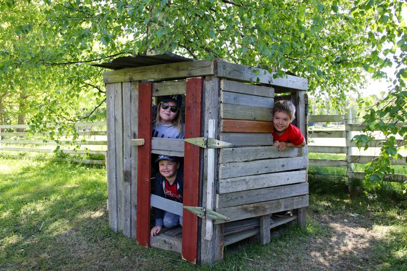 Helli, Toivo ja Otto ovat ylpeitä rakentamastaan majasta kesäkerhon takapihalla.