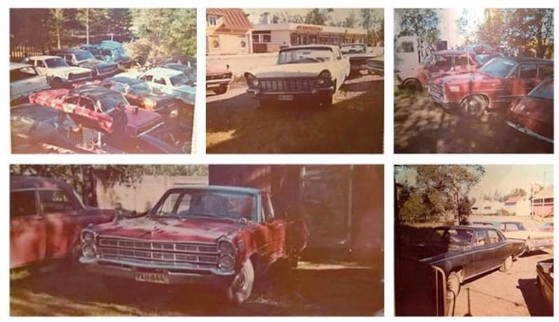 Kokkolassa oli 1970-luvulla jopa kaksi jenkkiautojen romuttamoa. Yläkuvassa Seppo Mattilan romuttamo.