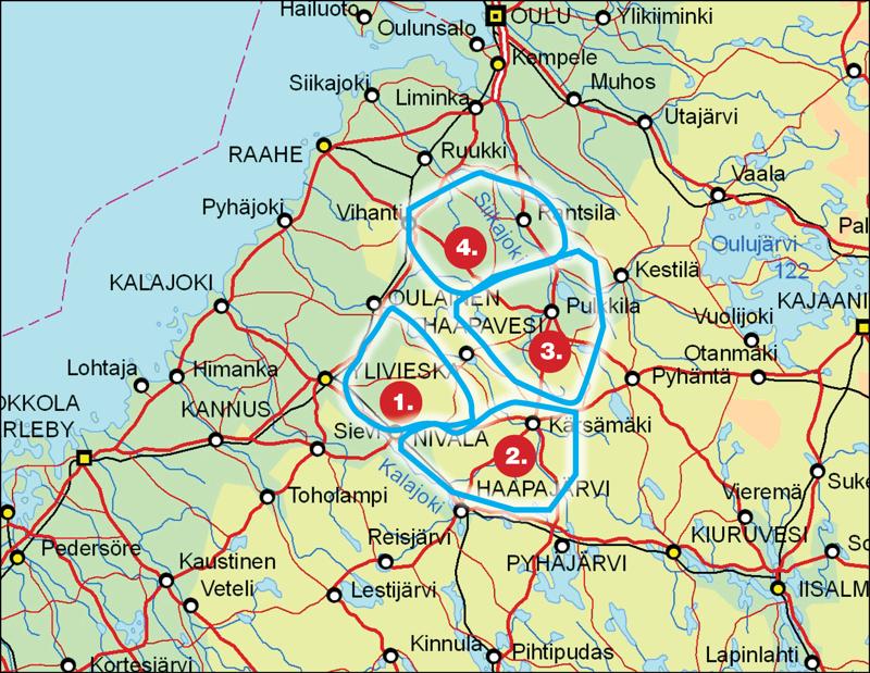 Karttaan on merkitty ne Luken susikanta-arviossa kuvatut susilaumojen reviirit, joitten alueet ovat osittain Haapavedellä: 1. Nivalan reviiri, 2. Haapajärven reviiri, 3. Pulkkilan reviiri ja 4. Rantsilan reviiri. Pohjois-Pohjanmaan eteläosissa on lisäksi reviirit Pyhäjoella (5 sutta) ja Siikajoen Revonlahdella (susipari). Seuraavaksi lähimmät susireviirit on Utajärvellä, Kiuruvedellä,  Perhossa ja Toholammilla.