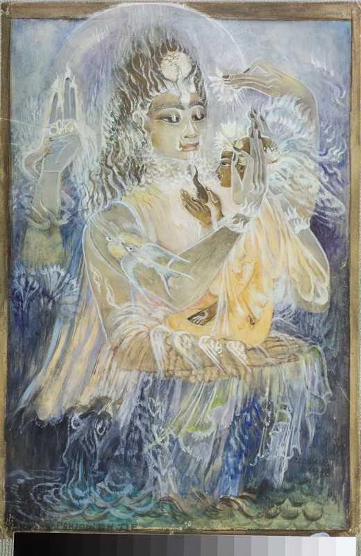 """Ilona Hariman """"Pohjoinen tie"""" -maalauksessa (1948) Krishna pitää polvellaan sielua, jonka valaistumista kuvaavat taiteilijalle rakkaat linnut, tässä lentoon nousevat haarapääskyt. Krishnan vasemmassa kohotetussa kädessä oleva tunnus """"oka"""" viittaa taiteilijan oletettuun henkioppaaseen. Teos kuuluu Signe ja Ane Gyllenbergin säätiön kokoelmaan."""