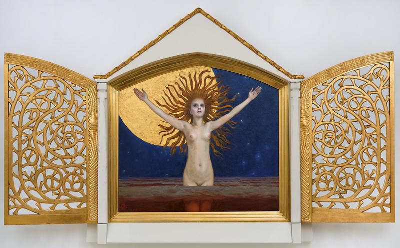 """Akseli Gallén-Kallelan """"Ad astra"""" (Tähtiä päin) on kultaisessa koristekaapissaan kuin alttari."""