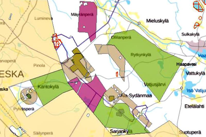 Haapaveden, Ylivieskan, Oulaisten ja Nivalan väliin jäävä alue kiinnostaa malminetsijöitä. Magnus Mineralsin tuore varaus on merkitty karttaa vaalean vihreällä. Kahdella eri sävyn ruskealla merkityille alueille yhtiö on hakenut malminetsintälupia. Punaisilla alueilla Finkivi Oy:llä on voimassa oleva malminetsintälupa. Keltaisella alueella on Moun Solutions Oy:n varaus.