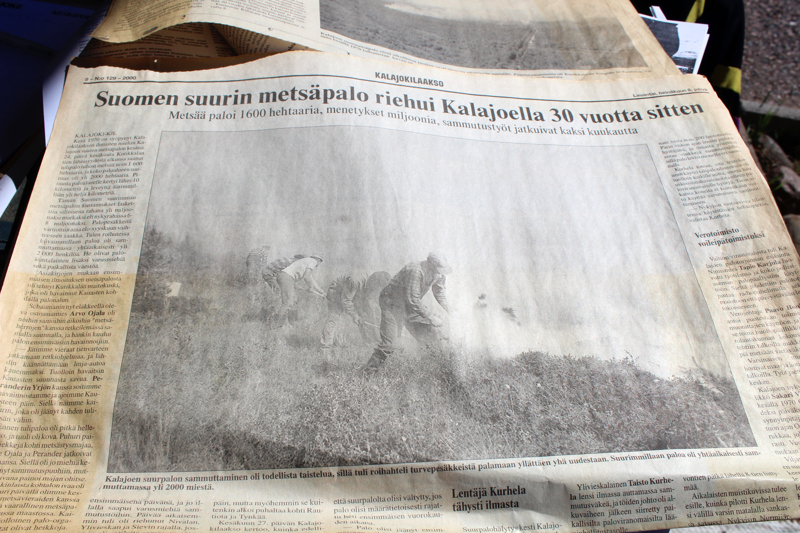Kalajokilaakso -lehden lehtileike metsäpalosta.