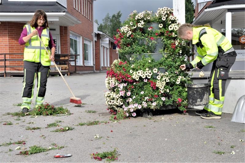 Kauppatorin kukkaistutukset ovat kokeneet kovia. Kaupungin vihertyöntekijät Sari Hautamäki ja Susanna Järvenpää ovat toistuvasti joutuneet siivoamaan ilkivallan seurauksia.