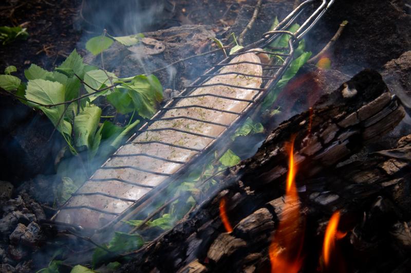 Koivunlehtipeti tuo halsterissa hiilloksella paistettuun siikaan saunanvihtamaisen aromin, joka korostaa oivallisesti kalan omaa makua.